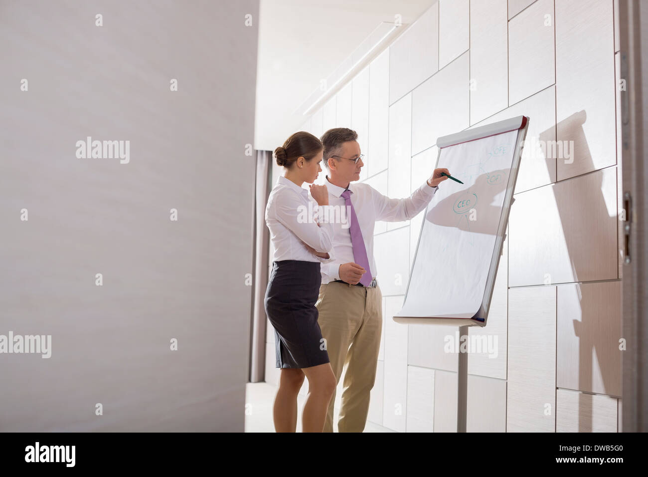 Business colleagues planning for presentation in office - Stock Image