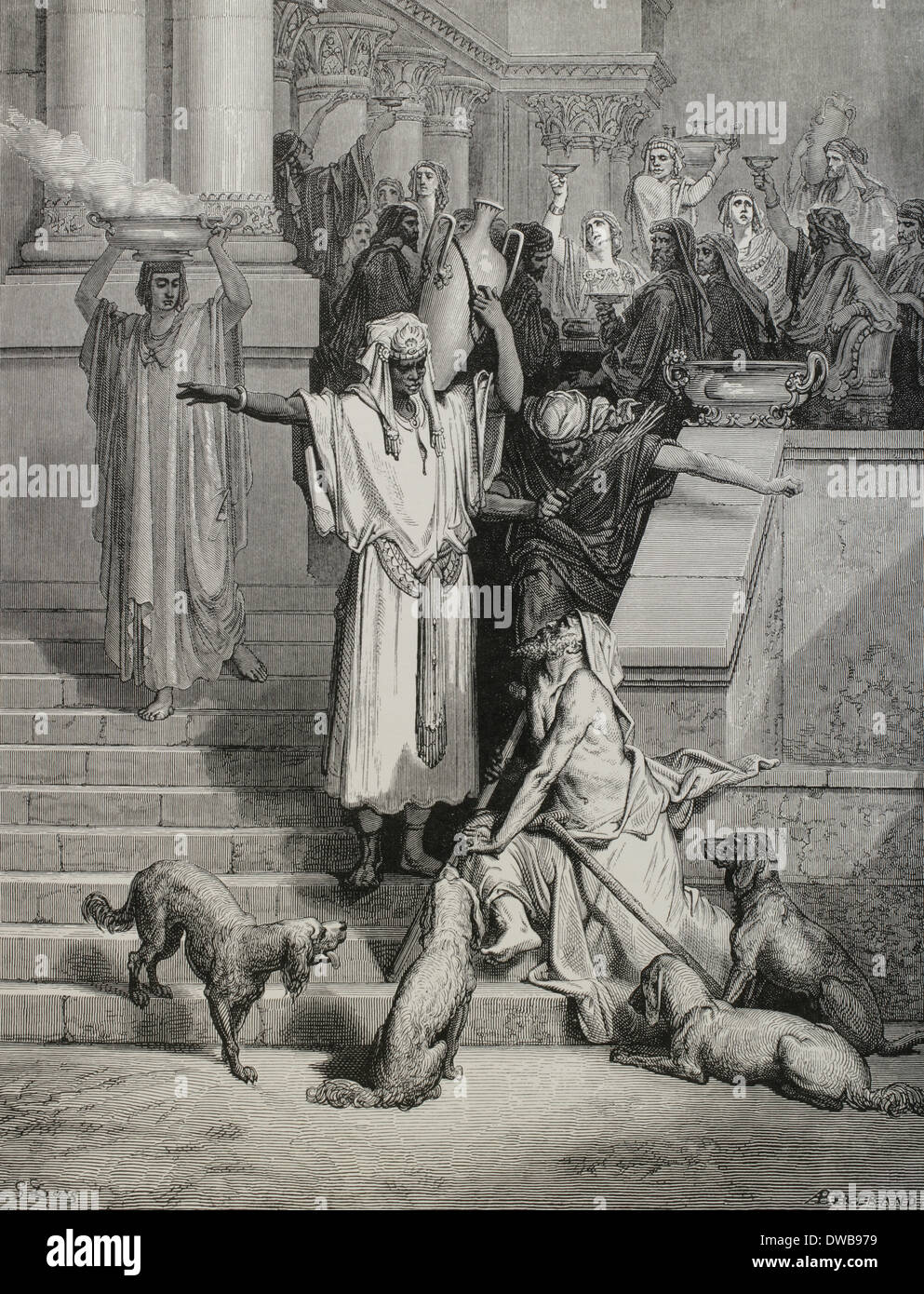 The Parable of Jesus, the Rich man and Lazarus. Gospel of Luke. Engraving by Gustave Dore. 19th century. - Stock Image