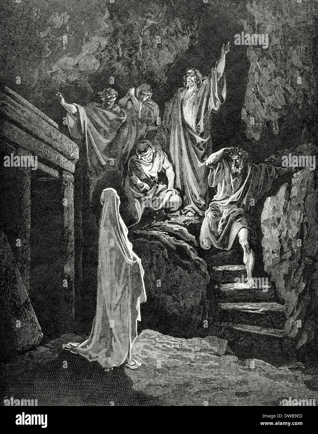 Resurrection of Lazarus. Engraving by Gustave Dore. Gospel of John, XI. - Stock Image