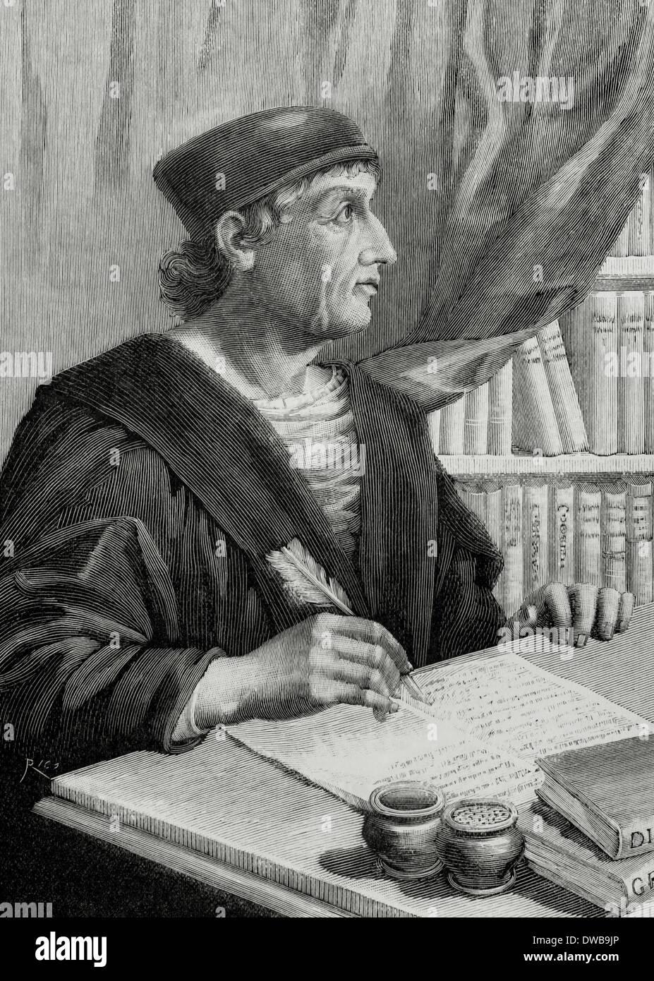 Antonio Nebrija (1441-1522). Spanish scholar, historian, teacher and poet. Engraving. - Stock Image