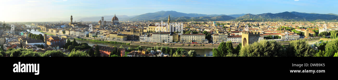 Wide panoramic view of Florence at sunset, Italy - Stock Image