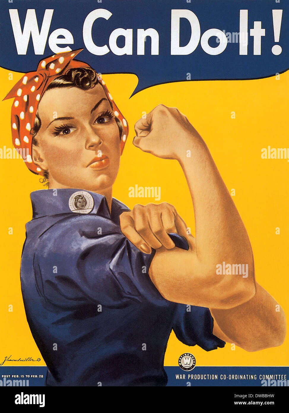 American wartime propaganda poster, We Can Do It!, produced in 1943 for Westinghouse Electric as an inspirational image to boost worker morale. The poster is generally thought to be based on a black-and-white wire service photograph taken of a Michigan factory worker named Geraldine Hoff. - Stock Image