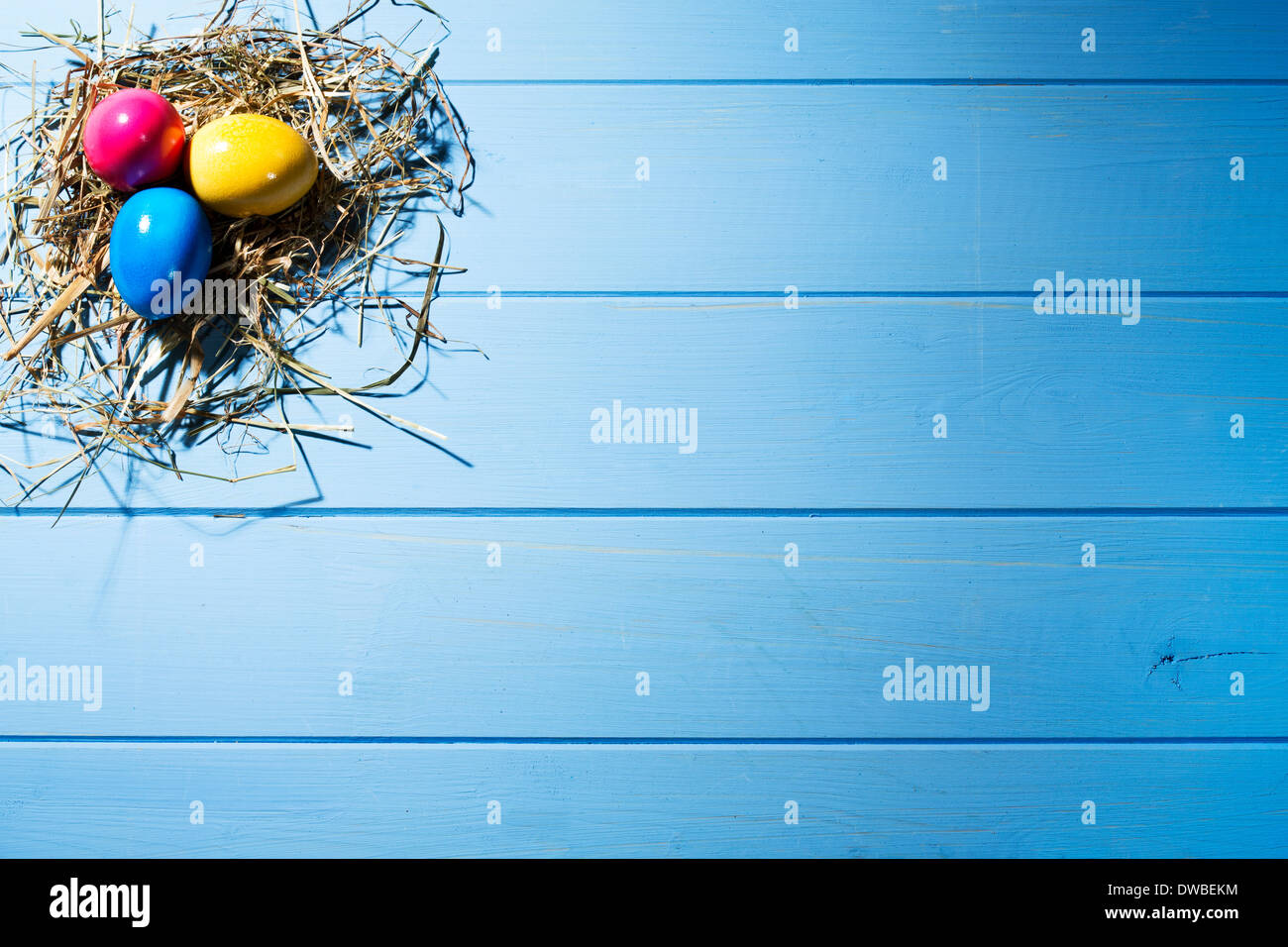 Easter nest with three coloured Easter eggs on blue ground - Stock Image