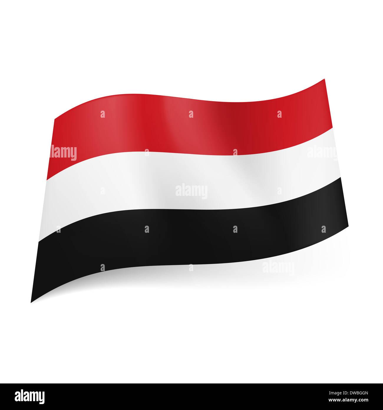 National flag of Yemen: red, white and black horizontal stripes. - Stock Image