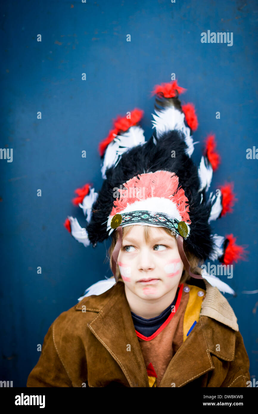 Portrait of boy masquerade like an Indian - Stock Image