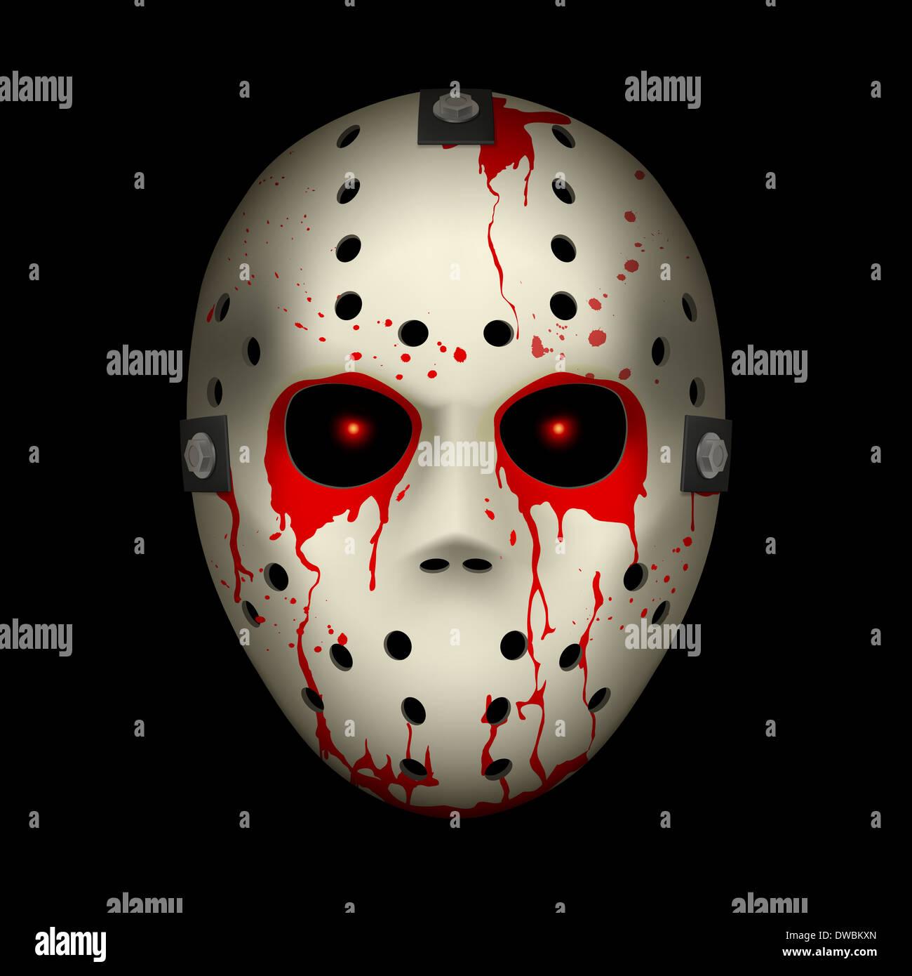 Bloody Hockey Mask. Illustration on black background for design - Stock Image
