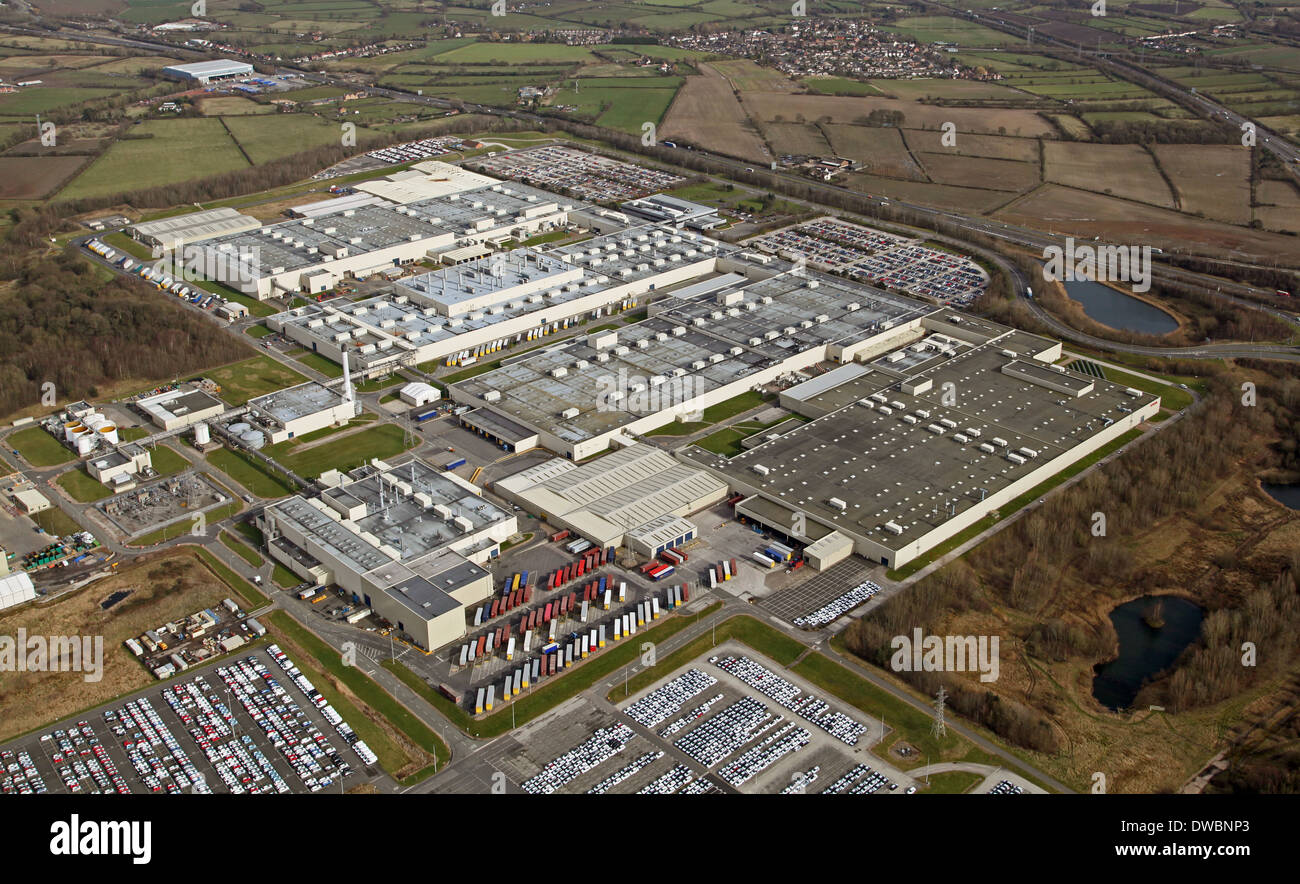 aerial view of the Toyota car factory at Burnaston near Derby, Toyota Motor Manufacturing UK Limited - Stock Image