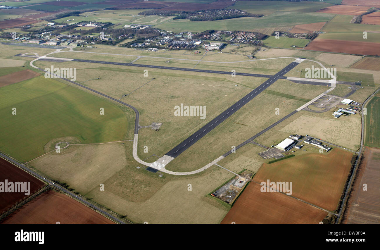 aerial view of RAF Cranwell near Sleaford, an airport with two runways - Stock Image
