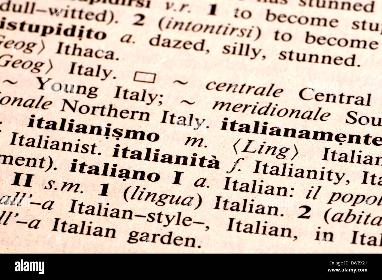 English In Italian: Italian Language Stock Photos & Italian Language Stock