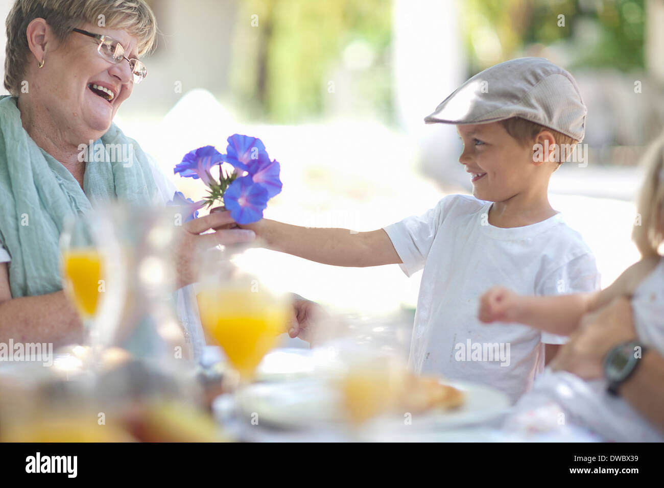 Boy giving flowers to grandmother - Stock Image