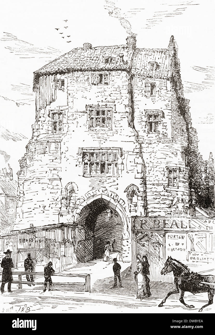 The Black Gate, the fortified gatehouse of The Castle, Newcastle-upon-Tyne, England in the 19th century - Stock Image