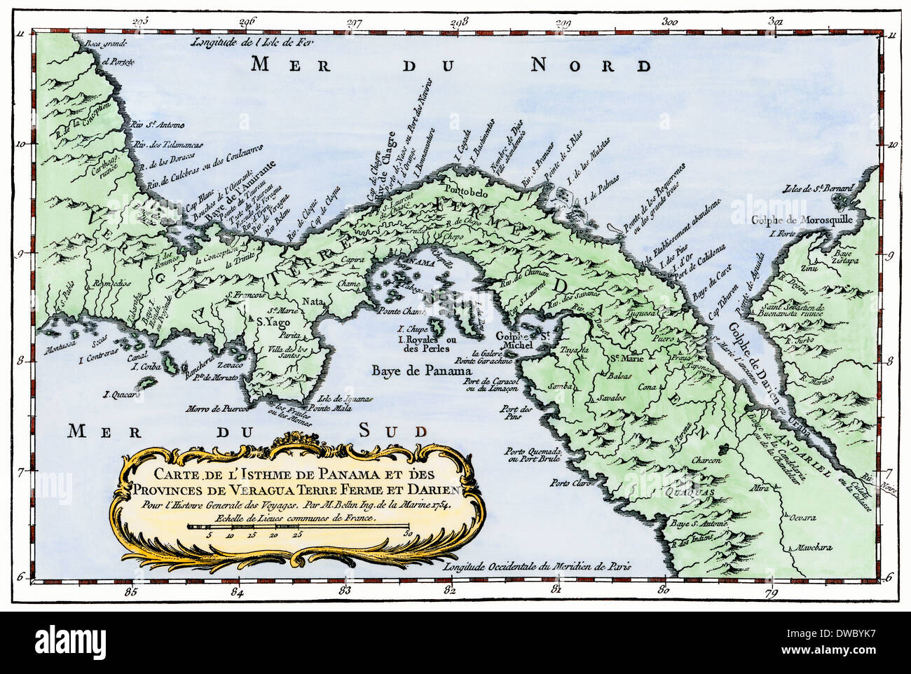 Isthmus of Panama map from Prevost\'s Voyages, 1754 (in French Stock ...