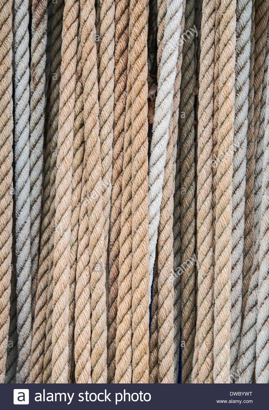 Full frame shot of ropes - Stock Image