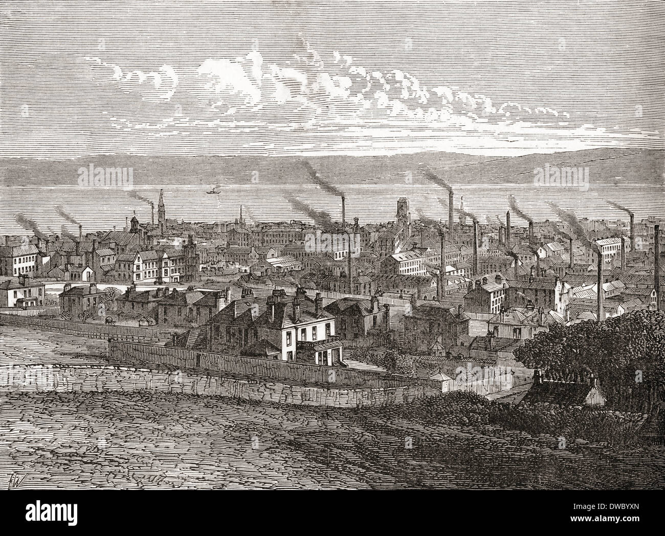 View of Dundee, Scotland, from The Law in the 19th century, when the city had over 60 jute mills. - Stock Image