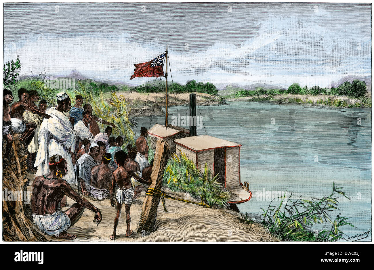 Trader hoisting the British flag on the Ruo River in what is now Mozambique, 1889. Hand-colored woodcut - Stock Image