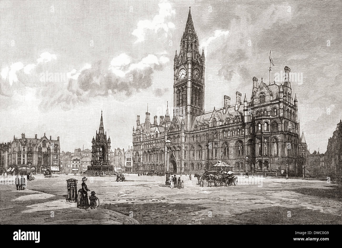 Town Hall Albert Square Manchester England In The 19th Century