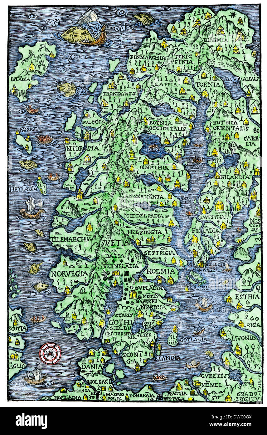 Map of Scandinavia, from the Carta Marina of Olaus Magnus, 1555. Hand-colored woodcut - Stock Image