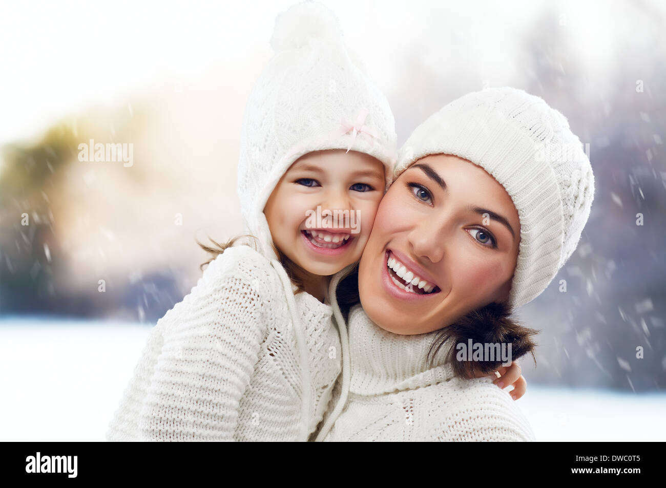 daughter and mother are happy together - Stock Image