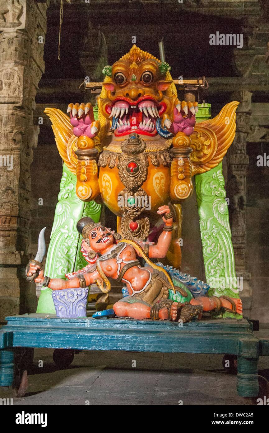 India Tamil Nadu Kanchipuram Sri Ekambaranathar Ekambareswarar Temple Temples Shiva Hindu 6th century parade figure Stock Photo