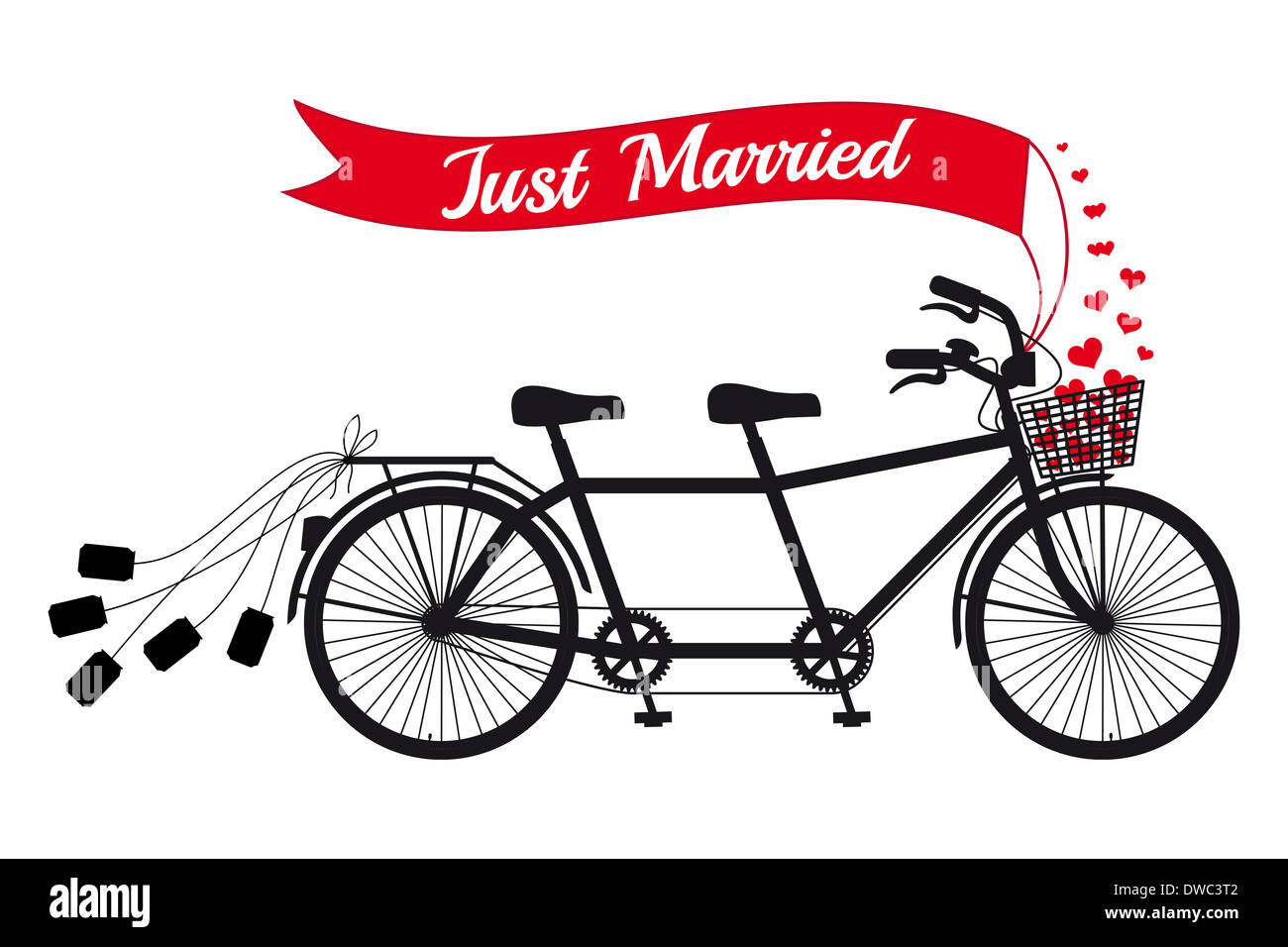 just married, wedding tandem bicycle - Stock Image