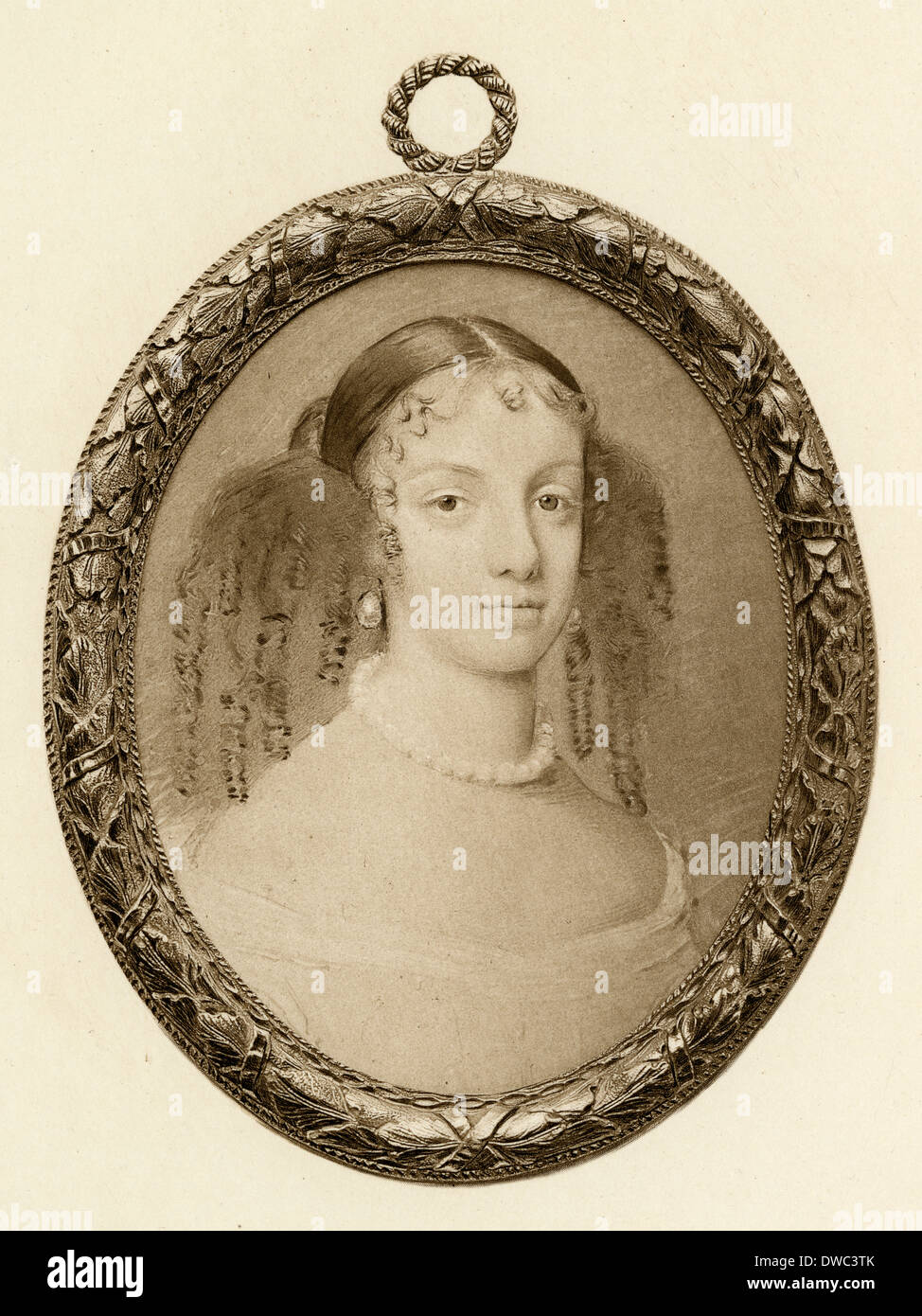 Antique engraving, Catherine of Braganza. - Stock Image