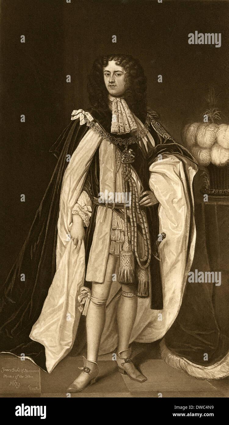 Antique engraving, James Scott, 1st Duke of Monmouth, 1st Duke of Buccleuch. - Stock Image