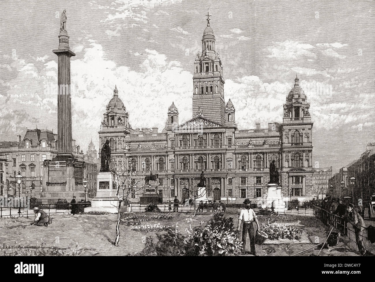 The City Chambers, George Square, Glasgow, Scotland in the 19th century. - Stock Image