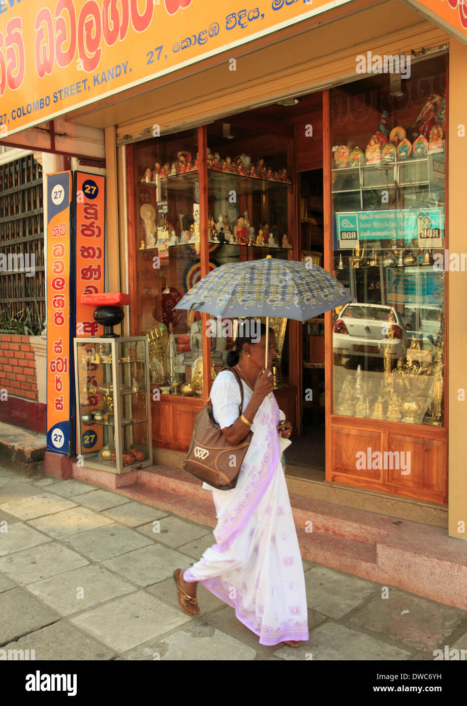 Sri Lanka; Kandy; street scene, shop, people, - Stock Image