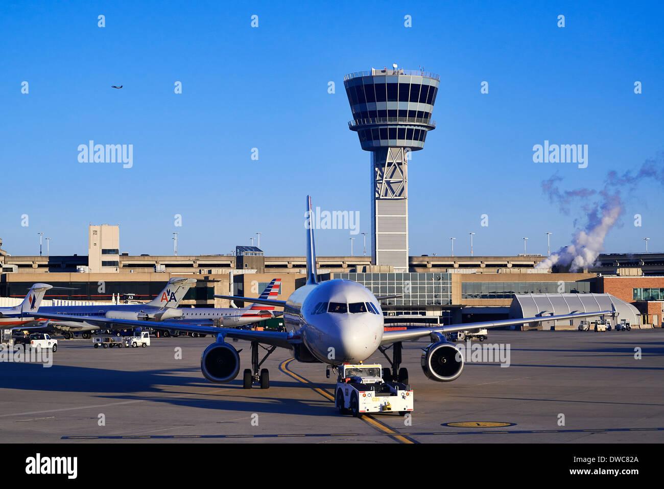 Terminal and control tower at Philadelphia airport, Pennsylvania, USA - Stock Image