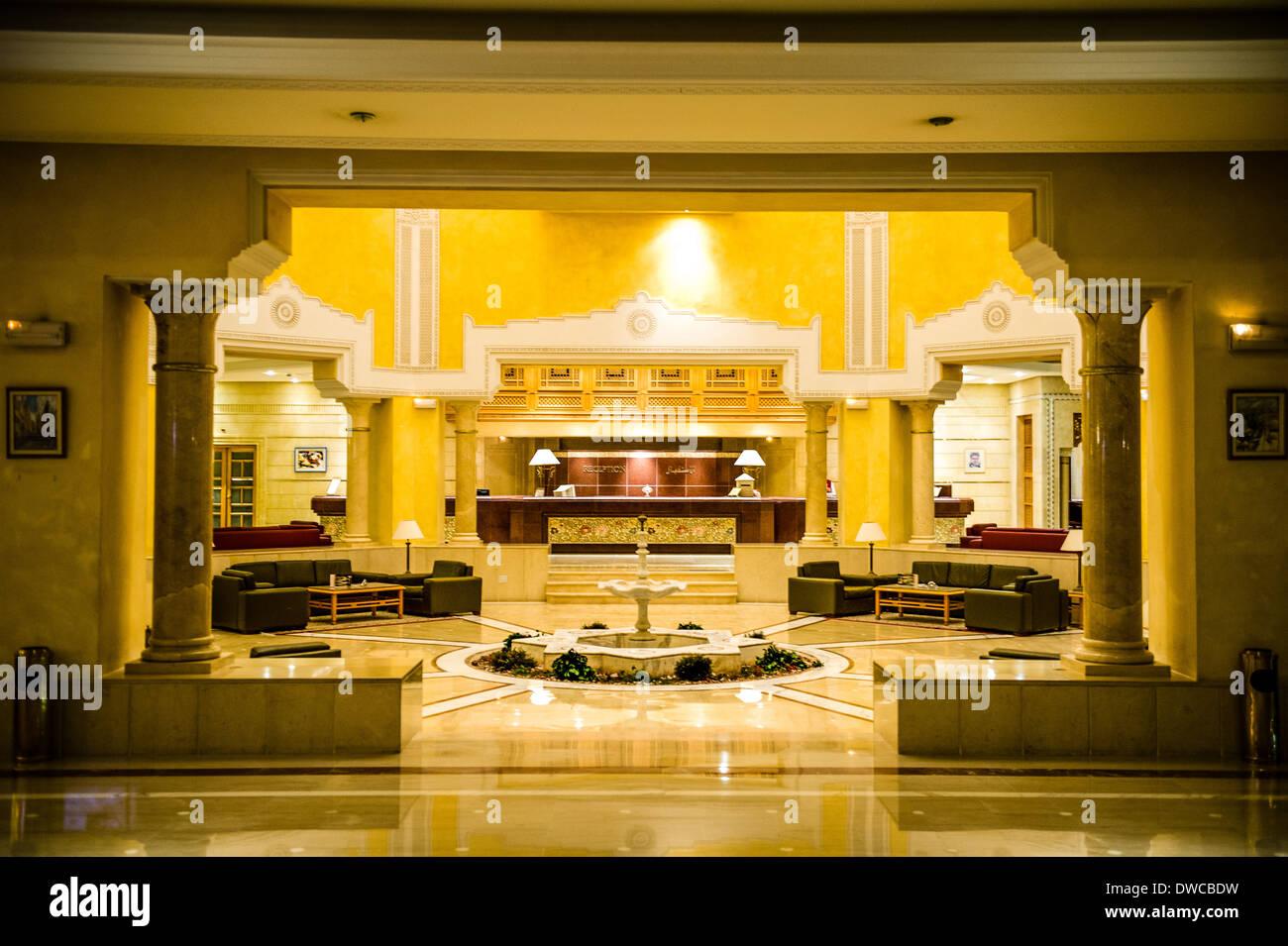 North Africa, Tunisia, Cape Bon, Hammamet. Reception of Mehari luxury hotel. - Stock Image