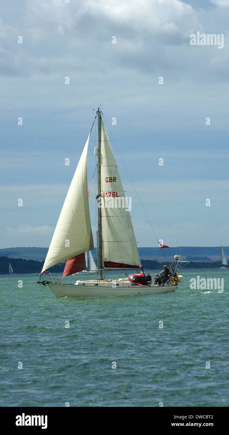 KIPPER OF LONDON a Victoria 34 yacht under sail in Solent - Stock Image