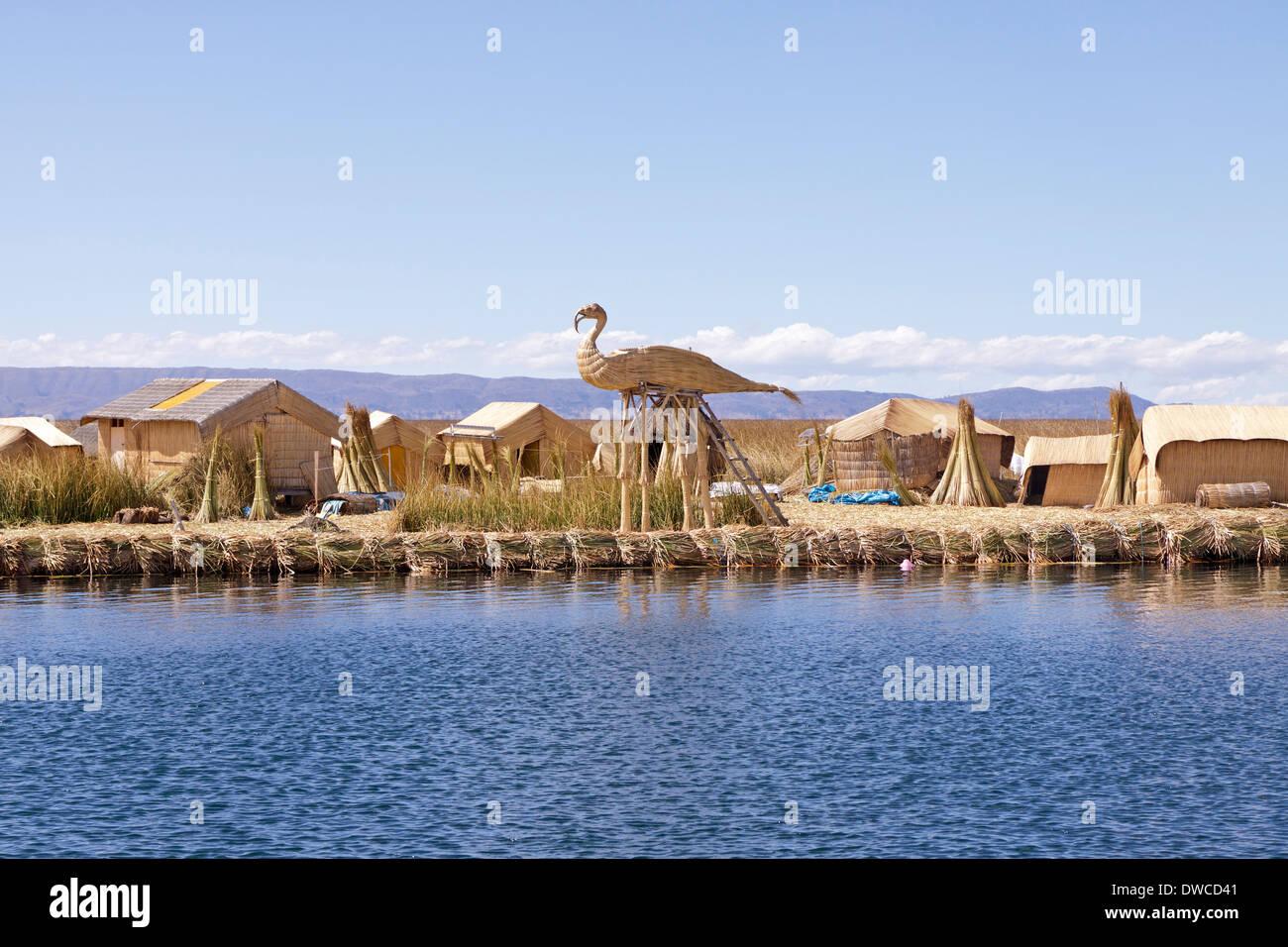 floating Uro Island, Lake Titicaca, Puno, Peru, South America - Stock Image