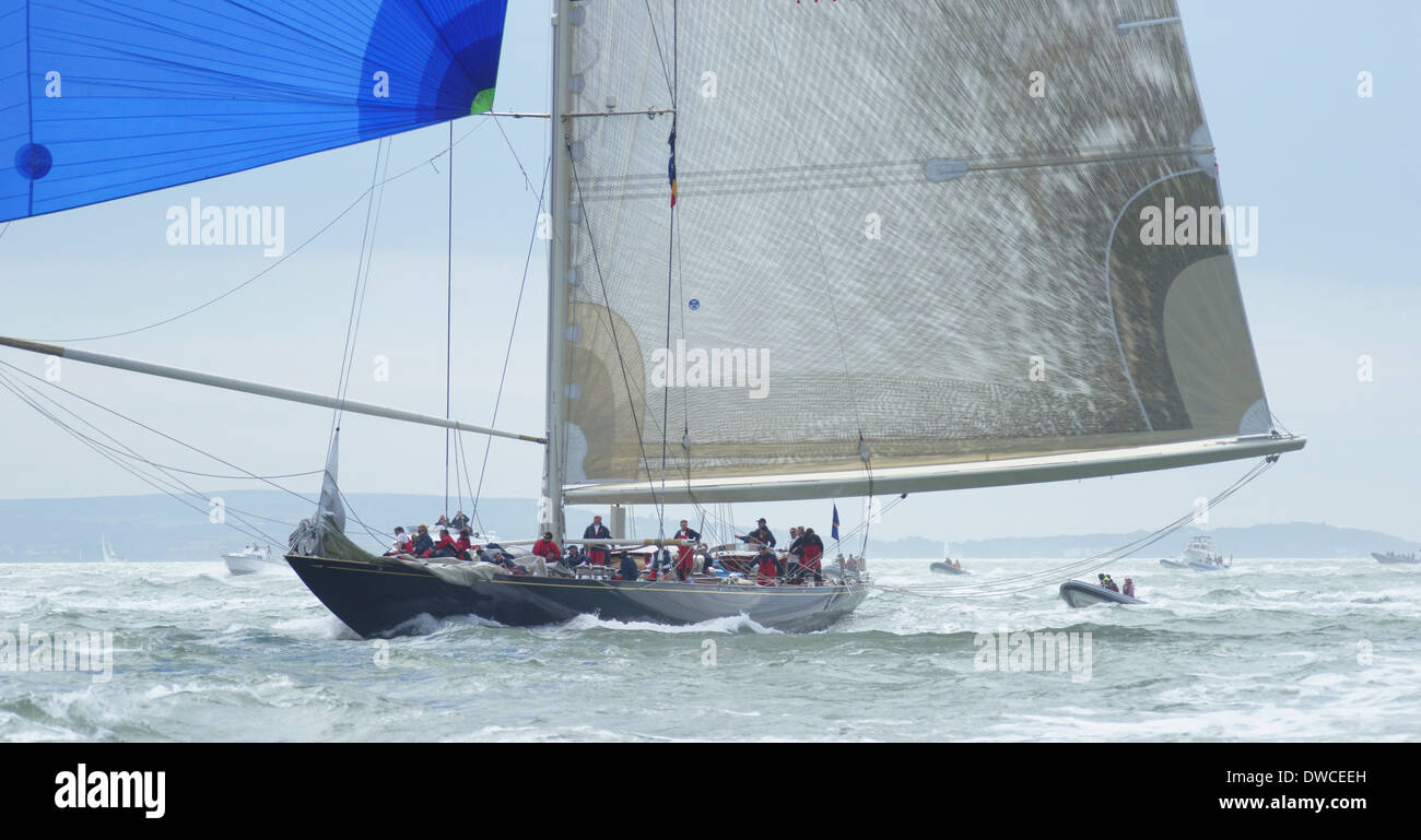 J-class yacht k7 Velsheda and crew during 2012 Solent regatta Stock Photo