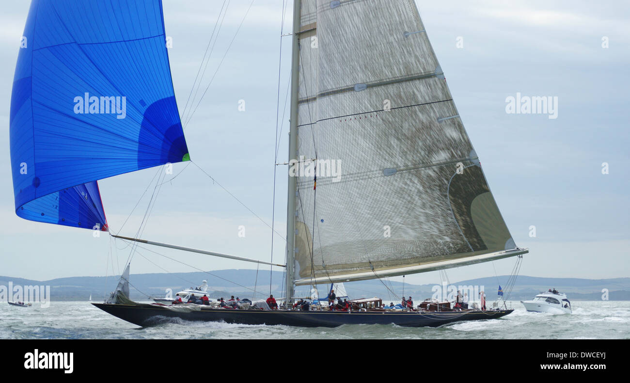 J-class yacht k7 Velsheda and crew during 2012 j-class regatta off the isle of wight Stock Photo