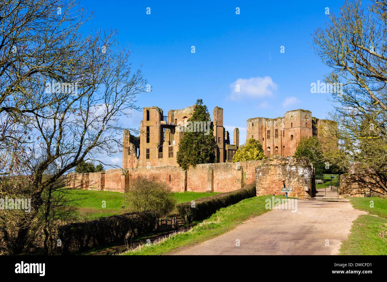 The ruins of 13thC Kenilworth Castle, Warwickshire, England, UK - Stock Image