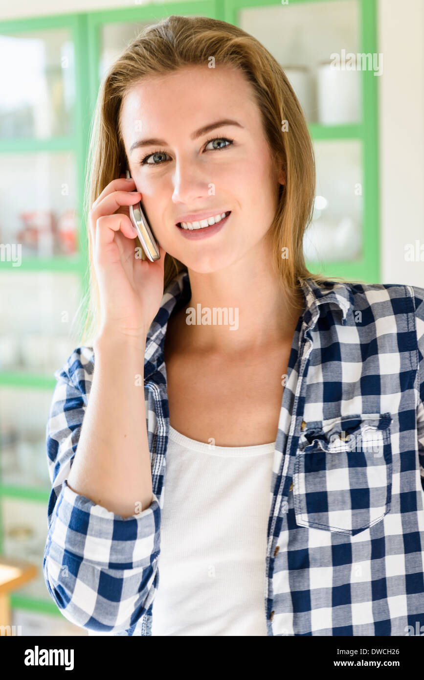 Young woman on phonecall - Stock Image