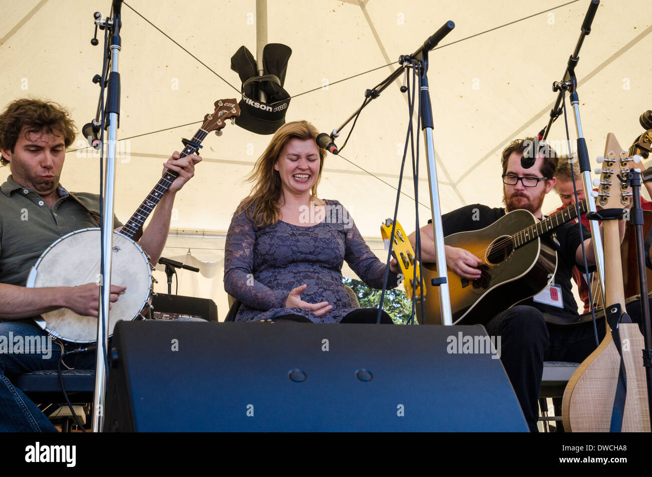 Newfoundland folk group 'The Once' perform at the Canmore Folk Music Festival, Alberta, Canada - Stock Image