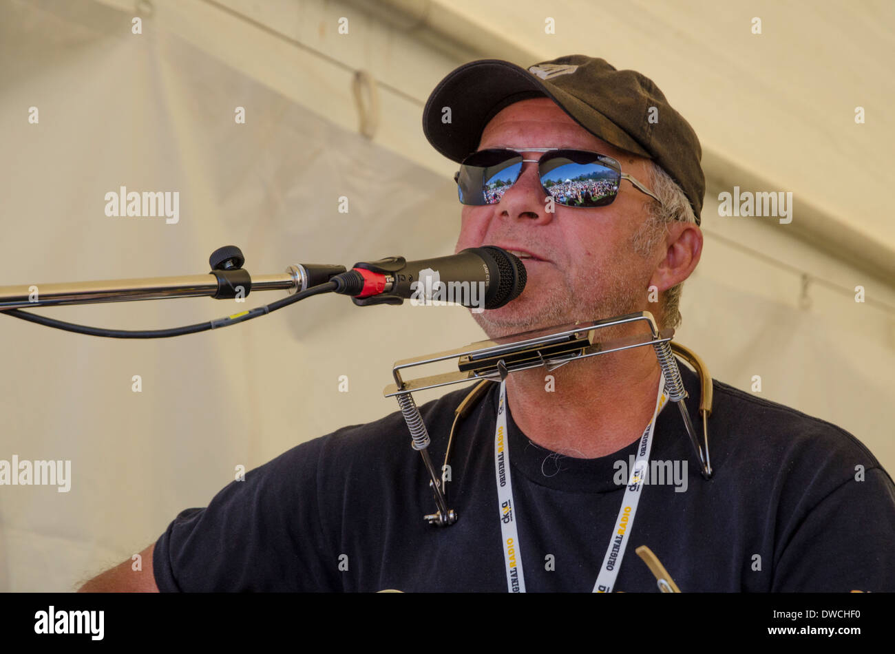Singer, songwriter Murray Mclauchlan performs at the Canmore Folk Music Festival, Alberta, Canada - Stock Image