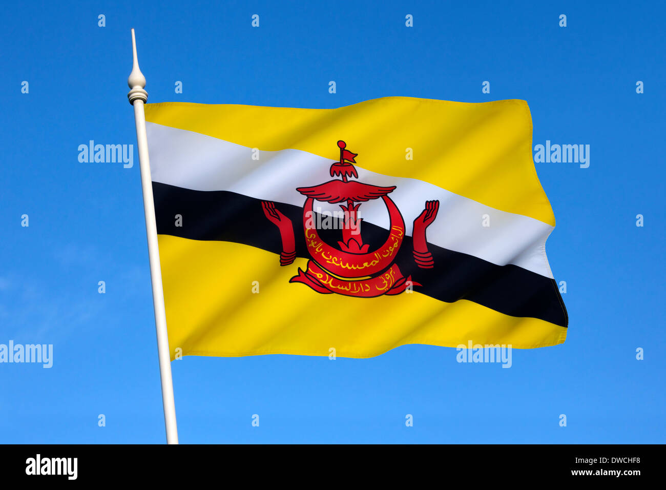 National flag of The Sultanate of Brunei, - Stock Image