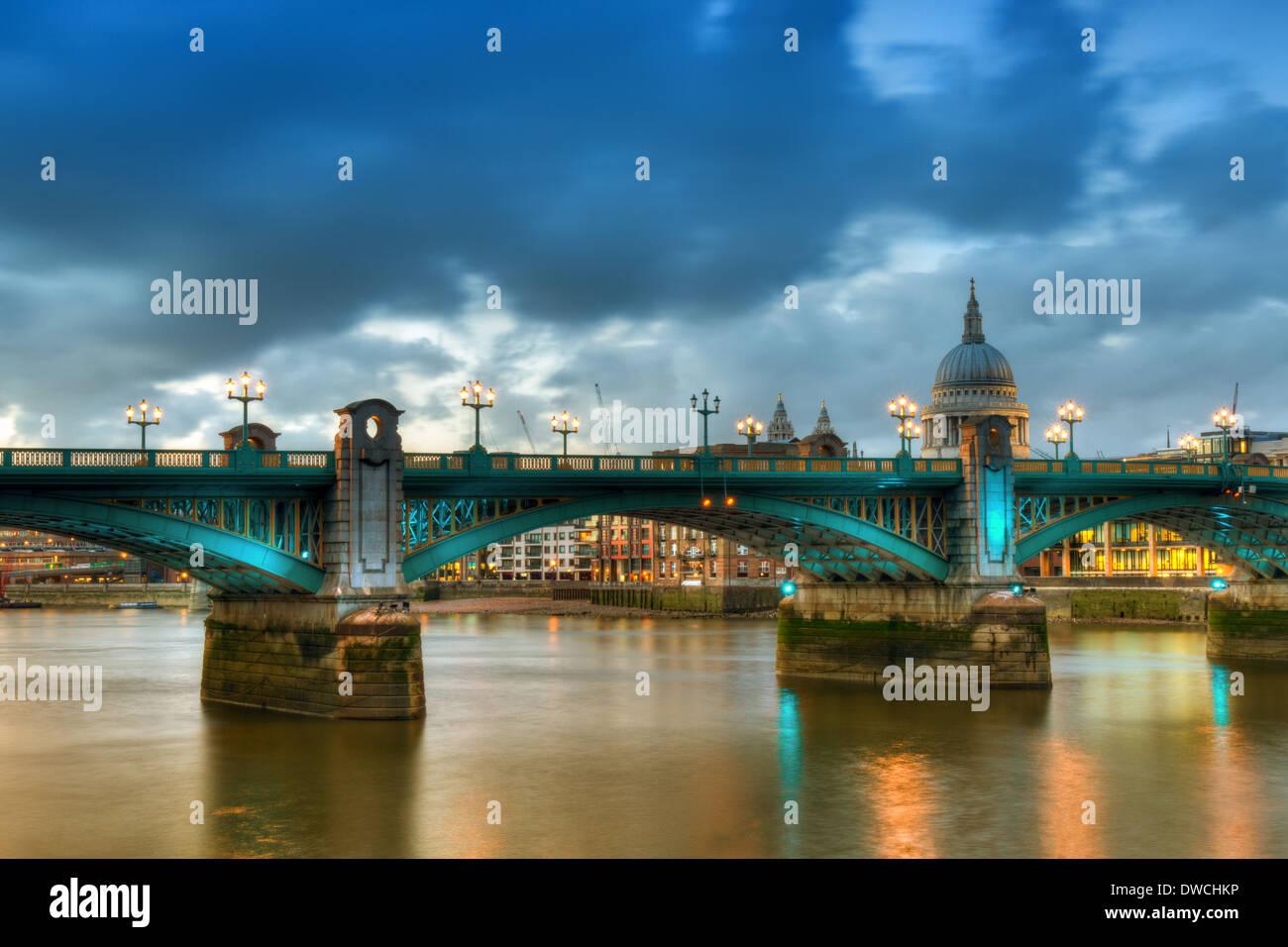 Southwark Bridge - HDR Version, London, England - Stock Image