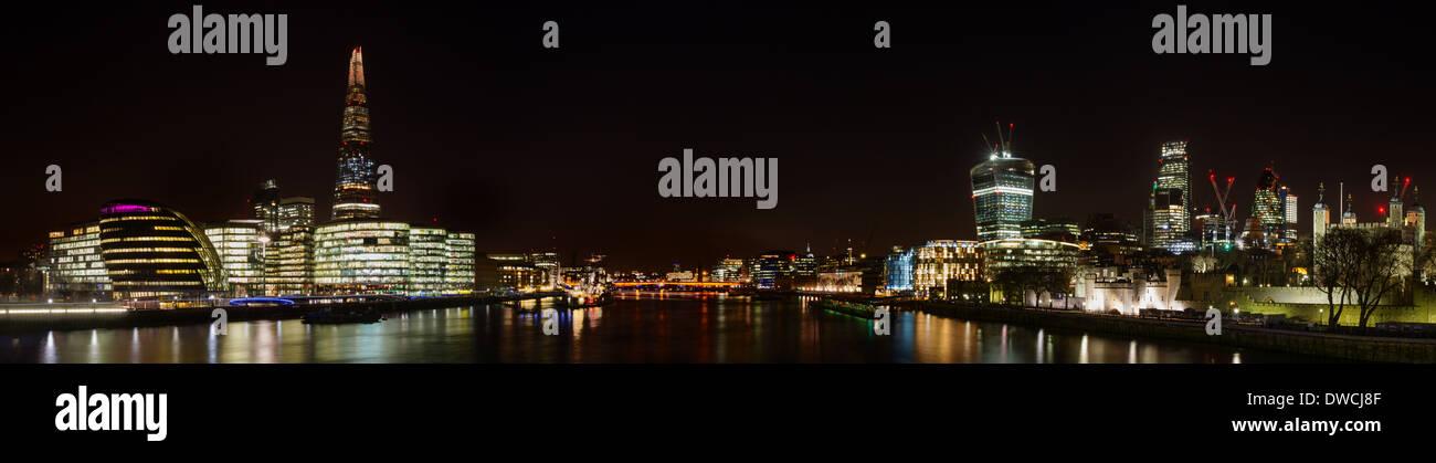 Panorama of London at night, England - Stock Image