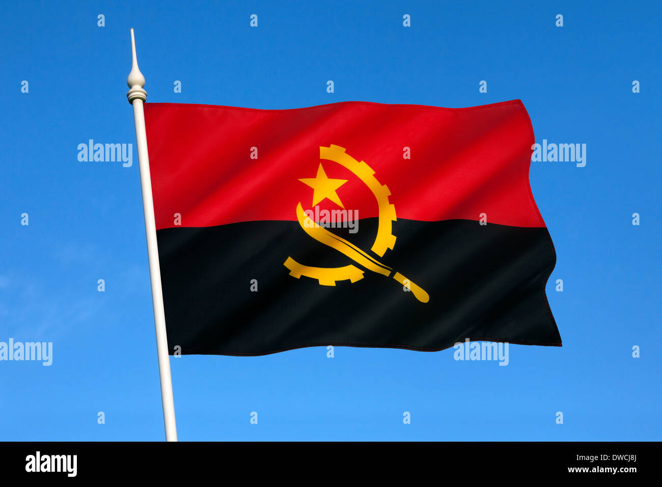 The national flag of Angola came into use at independence on November 11 1975. - Stock Image