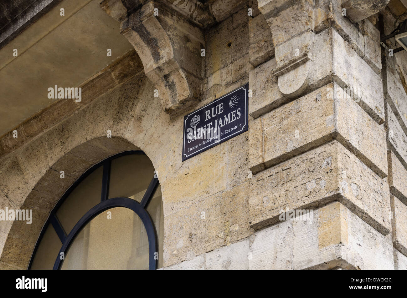 Old way of St James of Compostela in Bordeaux old town. France - Stock Image