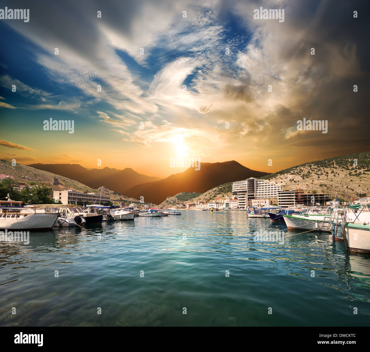 Bay of Balaclava with boats at sunset - Stock Image