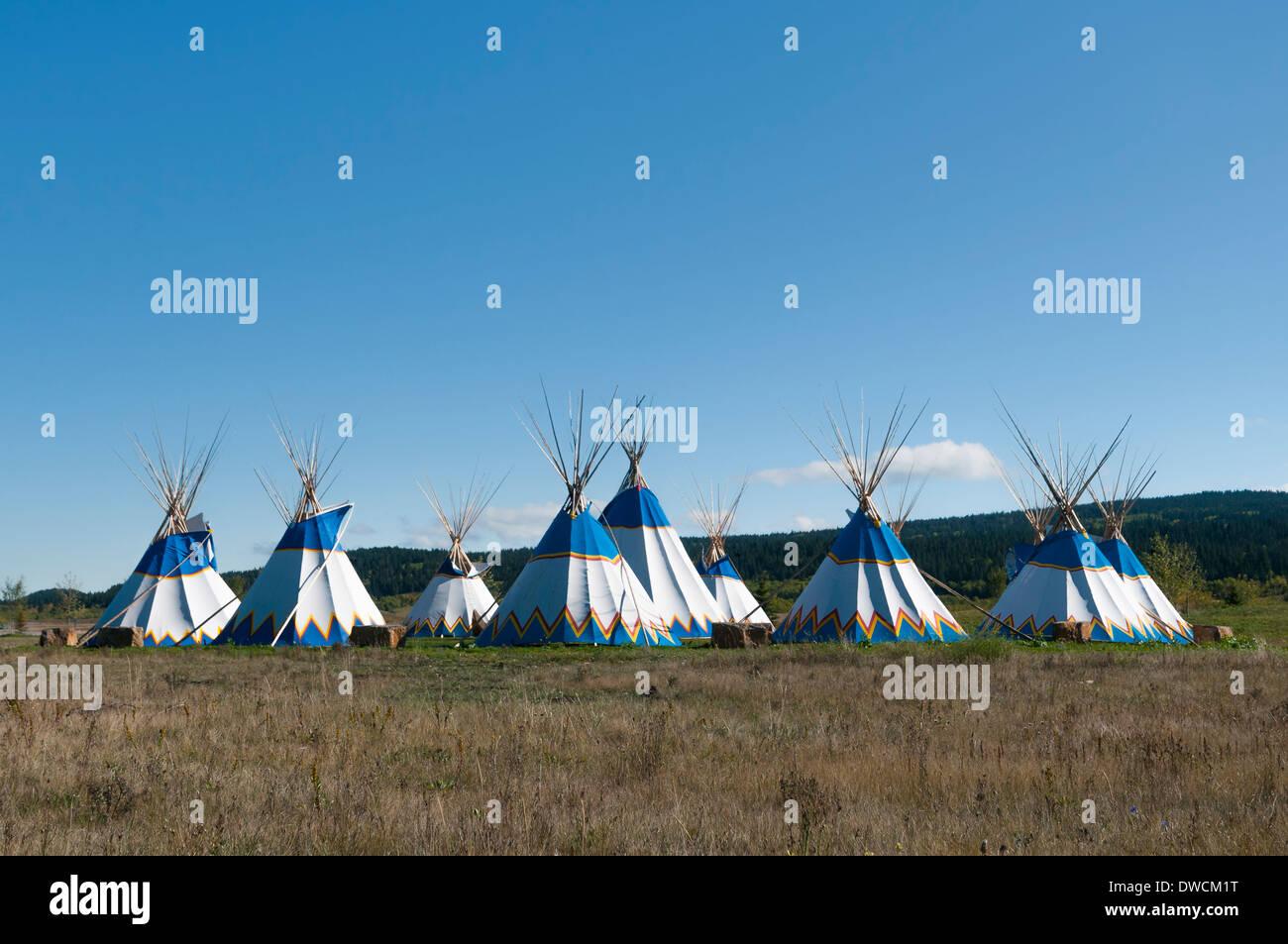 Teepees, Stoney Nakoda Resort & Casino, Kananaskis Village, Alberta, Canada - Stock Image