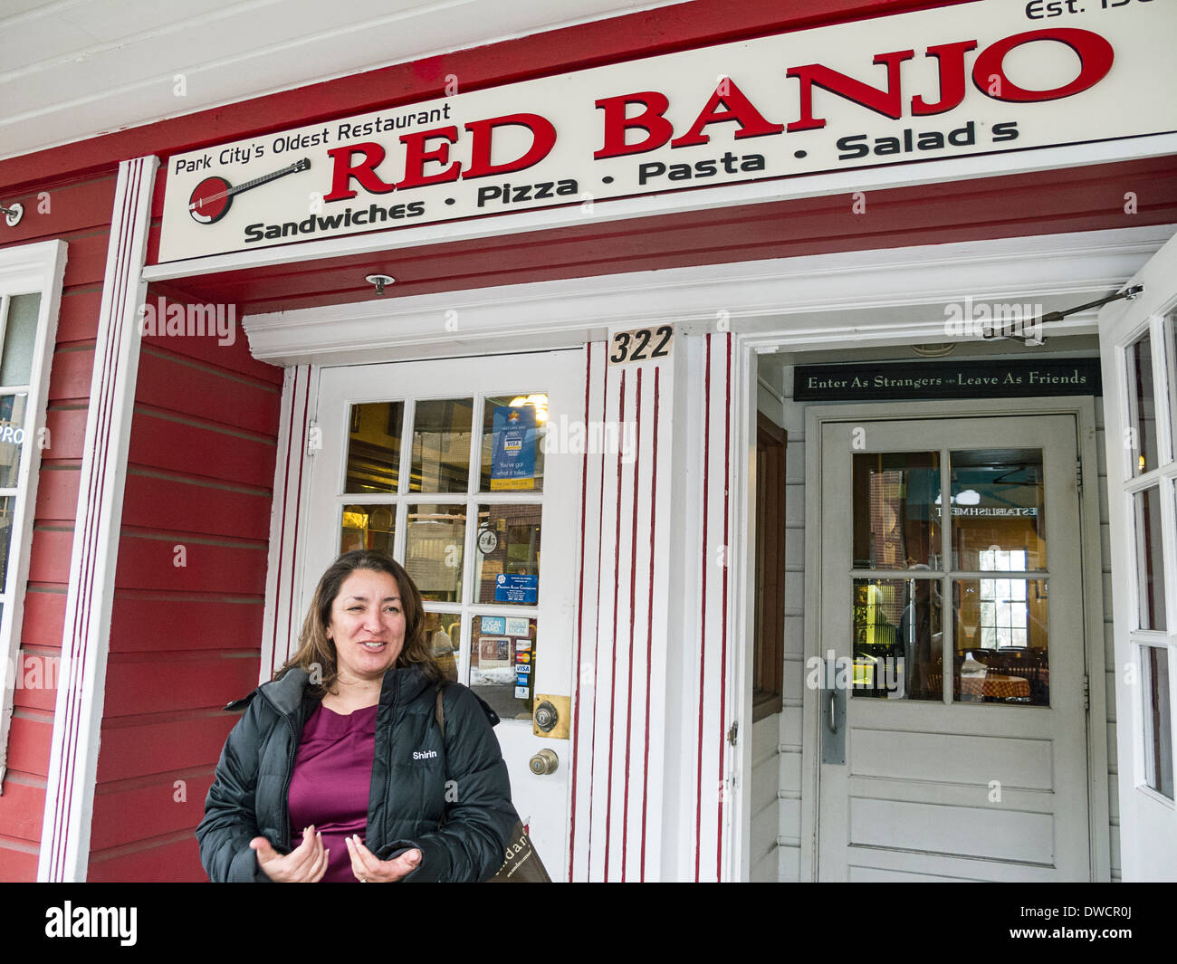 Red Banjo, casual food restaurant along Park City's Main Street. One of Park City's oldest restaurants. Park City, Utah. - Stock Image