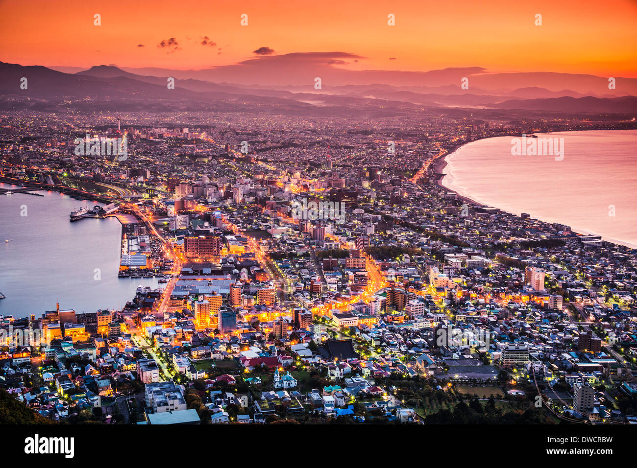 Hakodate, Japan city skyline viewed at sunrise. - Stock Image
