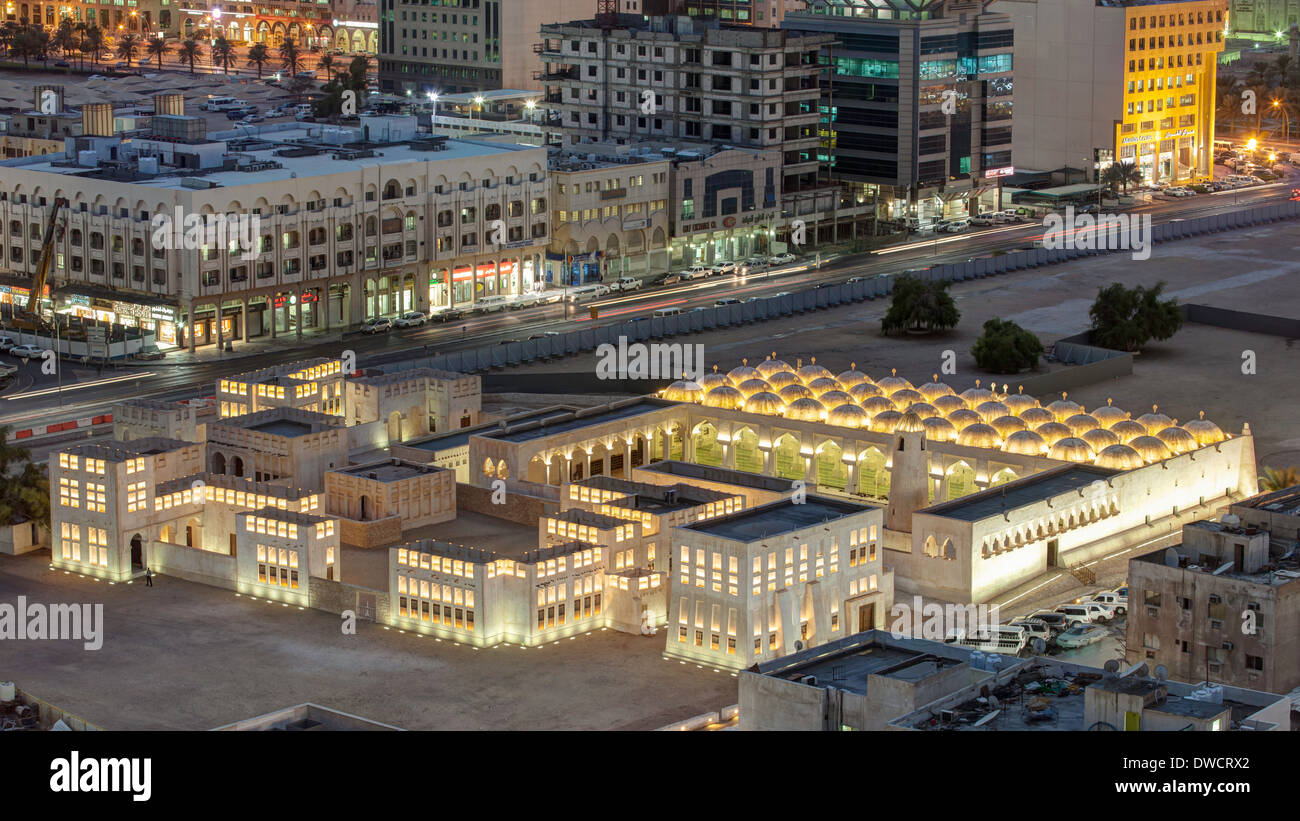 Doha, Qatar, elevated view over the city centre Mosque - Stock Image