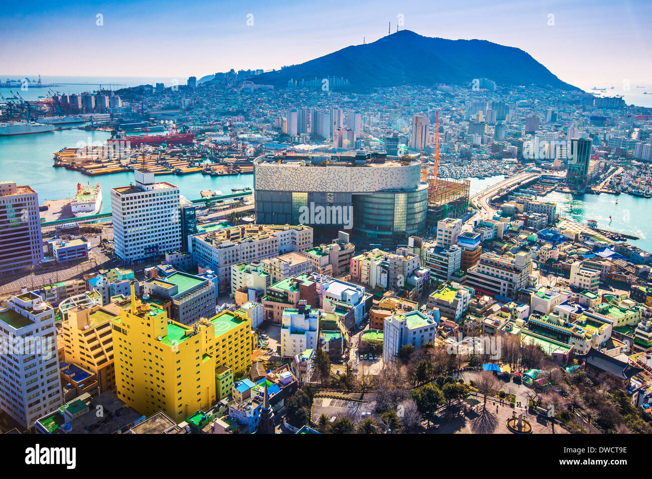 Busan, South Korea cityscape from above. - Stock Image