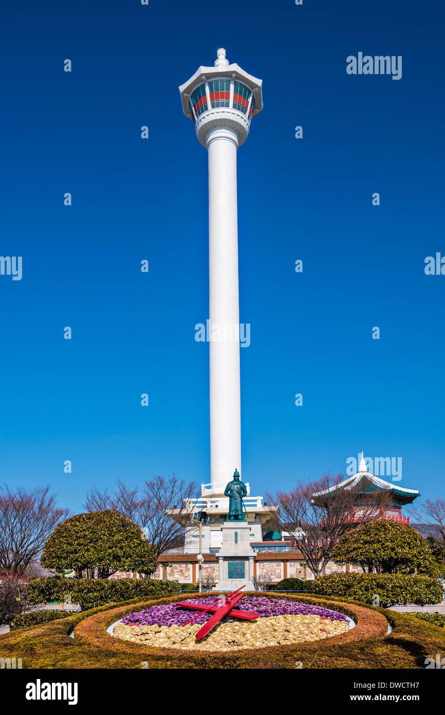 Busan, South Korea at Yongdusan Park and Busan Tower. - Stock Image